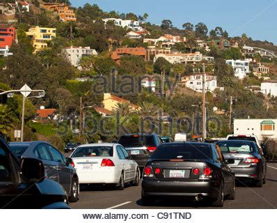 Pch Malibu Traffic - traffic on pacific coast highway at night in santa monica stock photo royalty free