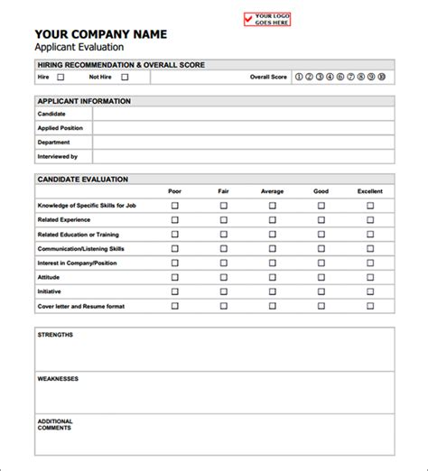 candidate evaluation form template applicant evaluation form sle forms