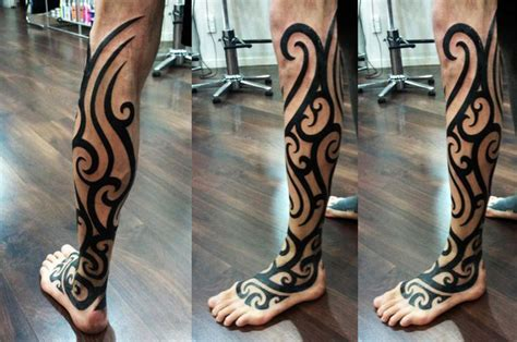 tribal tattoo on leg trash polka realistic skull blackwork dubuddha org
