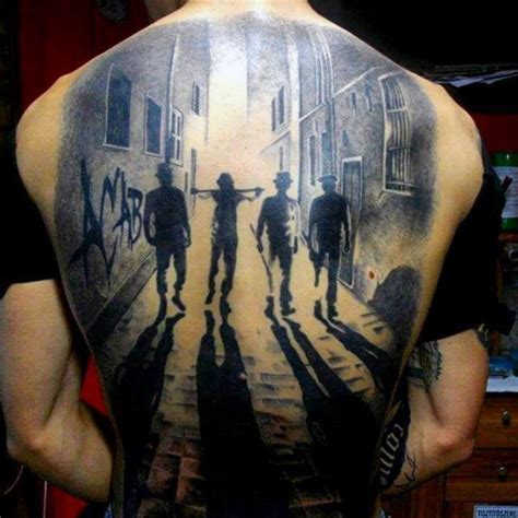 big city tattoo cool painted black and white thugs in city on