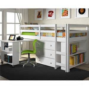 Bunk Bed With Desk Underneath Low Loft Bed Solid Pine Bunk Bed With Desk Underneath Chest And Bookcase In White Finish