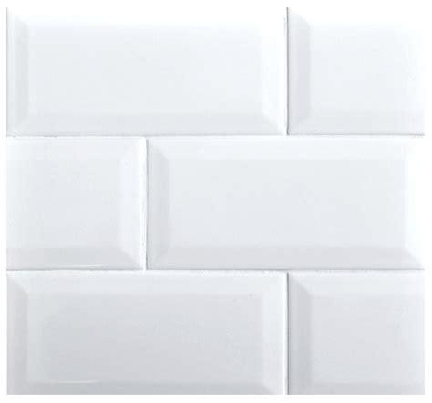 beveled 3x6 subway whisper white glossy ceramic tile