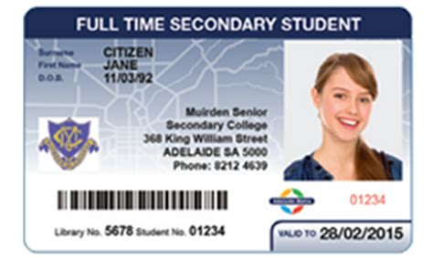 high school id card template adelaide metro concession cards