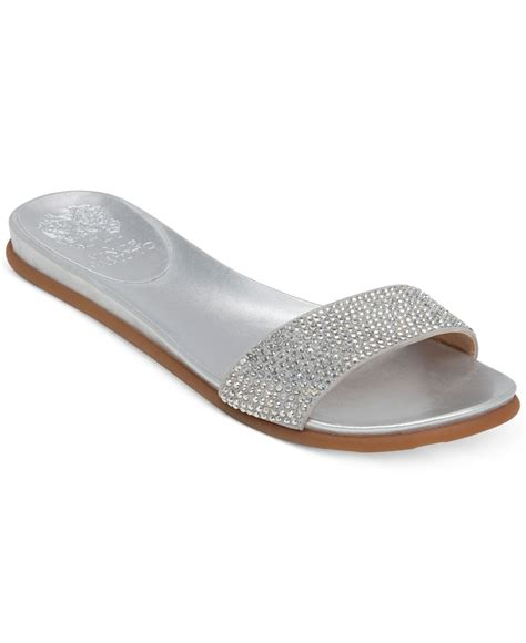 vince camuto silver sandals lyst vince camuto endilla flat slide sandals in metallic