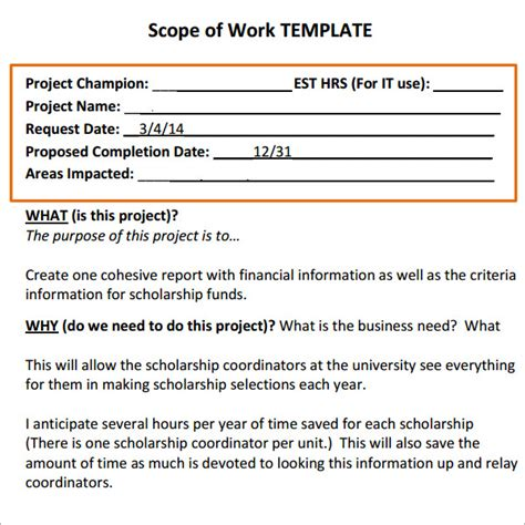 scope of work template free scope of work 16 free pdf dowload in pdf doc excel