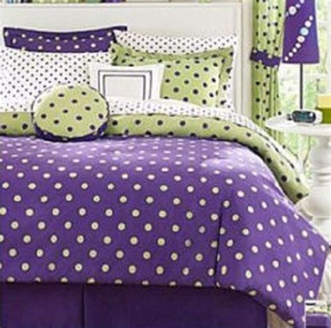 purple polka dot bedding purple and lime green retro bedding