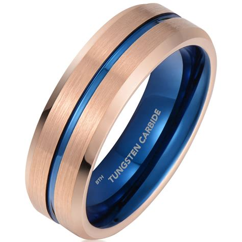 mens tungsten gold blue ion brushed bevelled wedding band