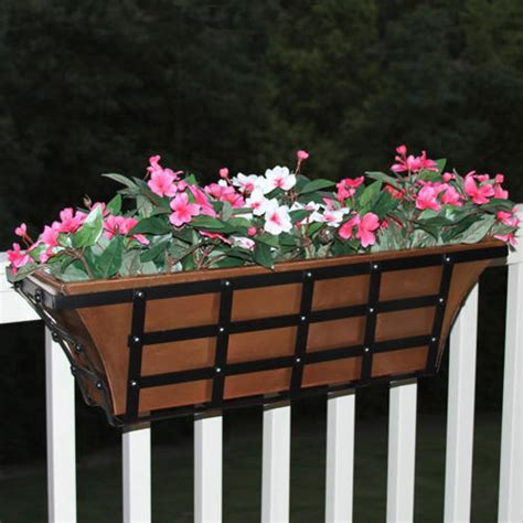 rail planter 36 quot decora tapered copper railing planter antique copper