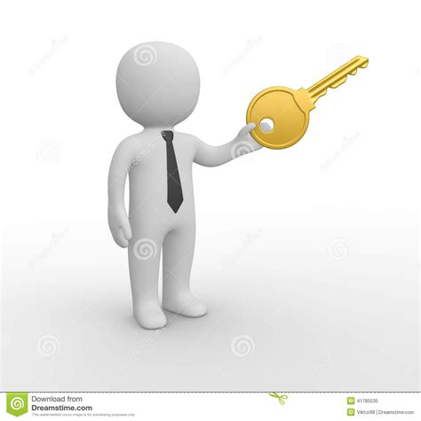 stock illustration of 3d man with safety equipment on 3d man with big key stock illustration image 41785535