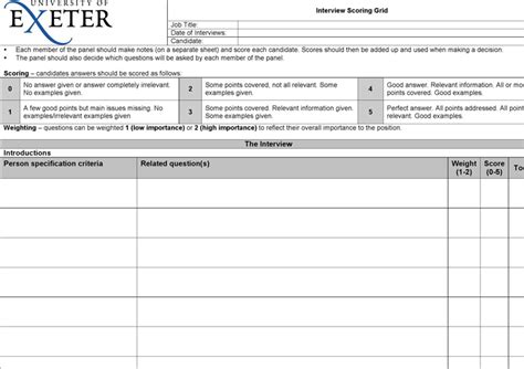 download interview scoring grid for free tidyform