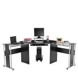 Workstation Computer Desk Homcom 69 Quot Modern L Shaped Symmetrical Glasstop Office Workstation Computer Desk Ebay