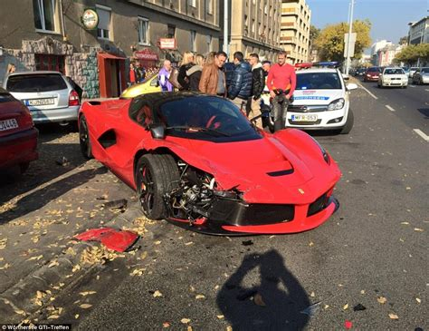 laferrari crash video shows laferrari crash in budapest after leaving