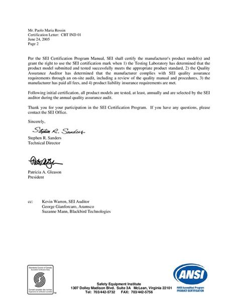 material certification letter certifications complete list