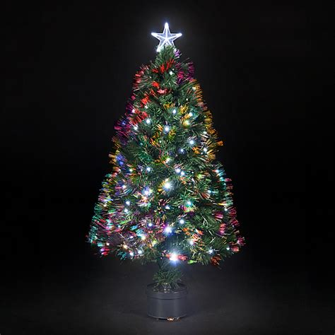 3ft 6ft fibre optic saturn christmas tree with ice white