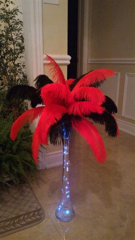 Casino Style Red and Black Ostrich Feather Centerpiece