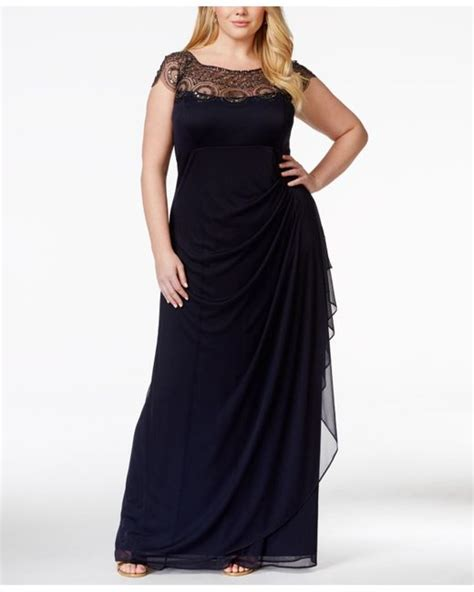 xscape beaded illusion gown xscape plus size cap sleeve illusion beaded gown in blue