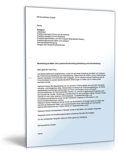 Bewerbung Anschreiben Zwei Seiten anschreiben bewerbung maler muster zum