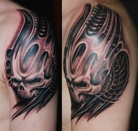 biomechanical skull tattoo design biomechanical sleeve ideas and biomechanical sleeve