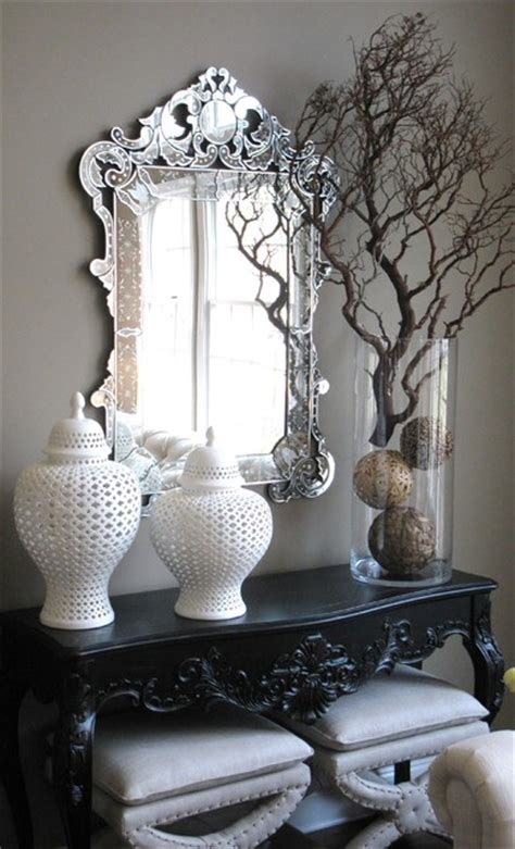 venetian mirror living room indeed decor home garden design console table detail eclectic entry new york by