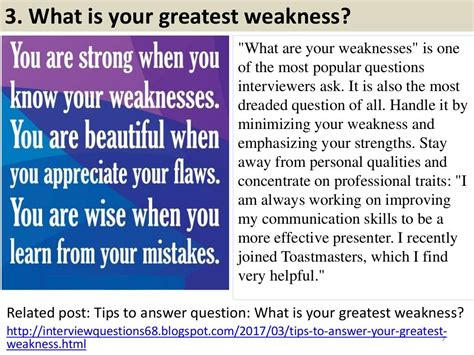 what is your career objective answer 3 what is your greatest weakness quot what are your