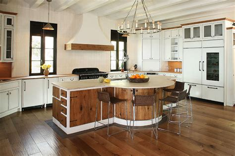 kitchen cabinets mixed styles of stained wood and modern