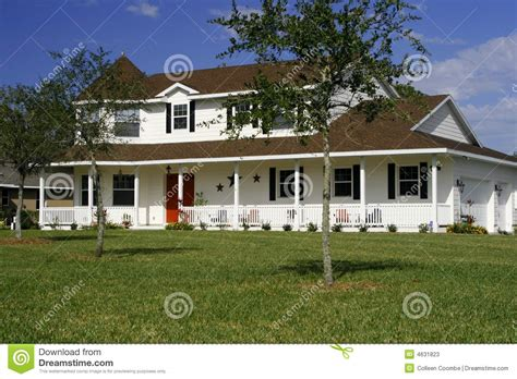 Double Porch House Plans New American Style Home Stock Photos Image 4631823