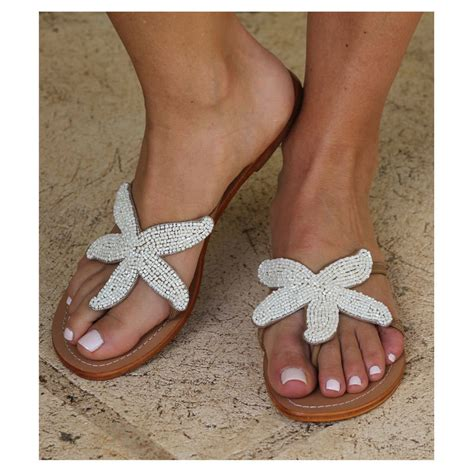 Sandal Pria Havaianas Original 32 starfish white beaded flat leather sandals by aspiga notonthehighstreet