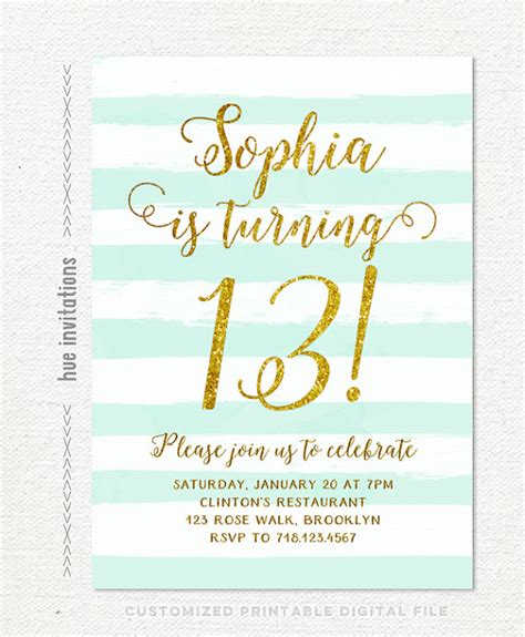 13th birthday invitations girl mint stripes gold glitter