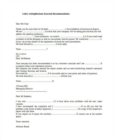 Business Associate Reference Letter 79 exles of recommendation letters