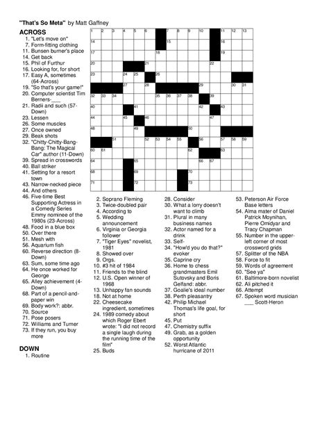 highly recommended film crossword may 2014 matt gaffney s weekly crossword contest