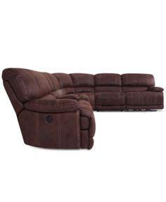 jedd fabric reclining sectional sofa jedd 5 pc fabric sectional sofa with 3 power recliners