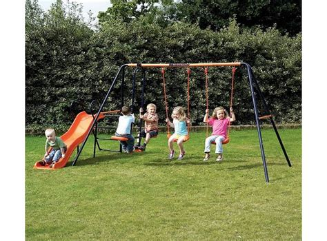 outdoor swings and slides worldstores childrens garden swing and slide set headstrom