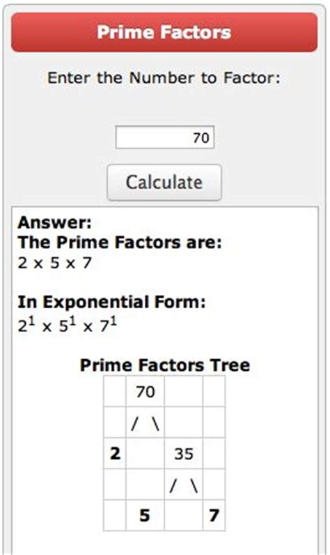 prime factorization tree calculator classroom pinterest
