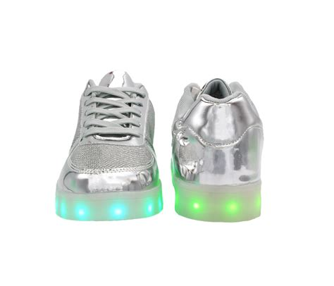 Shoes Glossy Led galaxy led shoes light up usb charging low top sneakers silver glossy fusion back to