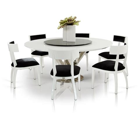A X Spiral Modern Round White Dining Table With Lazy Susan Dining Table For 6 Contemporary