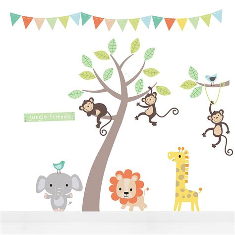 jungle animals wall stickers pastel jungle animal wall stickers by parkins interiors