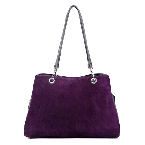 Bag Purple Lh1724 Miss Lulu Suede And Leather Shoulder Bag Purple