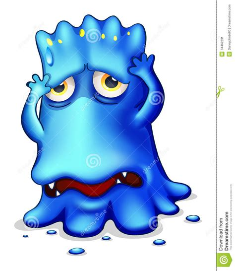 videos of monster a sad monster because of failure stock illustration