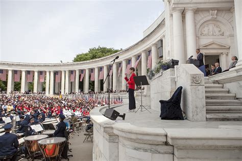 and nay the memorials of file president barack obama at lectern delivers a memorial day address at the memorial