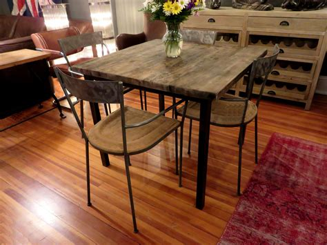 reclaimed wood pub table square reclaimed wood dining table hudson goods blog