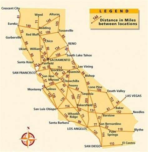 california map directions california city distance and charts on