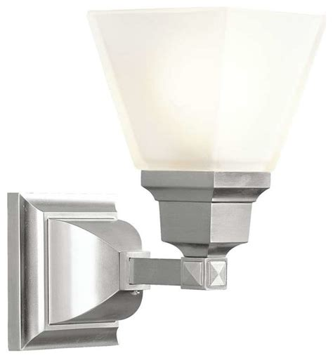 Bathroom Houzz Bathroom Lighting 30 Livex Lighting Mission Bath Light In Brushed Nickel
