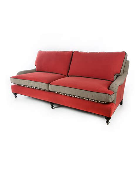 Mackenzie Childs Courtly Check Underpinnings Tomato Sofa