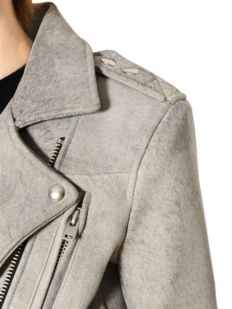 light grey moto jacket iro washed nappa leather moto jacket in gray for men lyst
