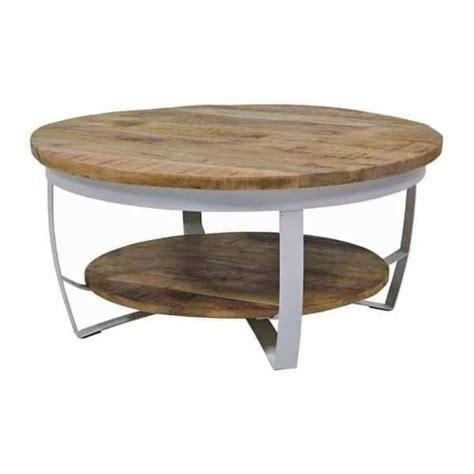 ronde salontafel sale paula ronde salontafel met onderblad wit metaal hout
