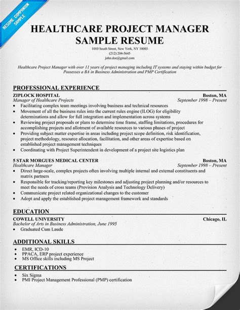 healthcare project manager resume exle http