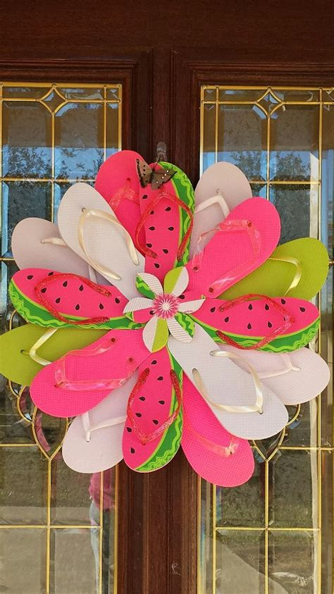 Handmade Door Decorations - unique handmade flip flop wreath door wall decor for the pool