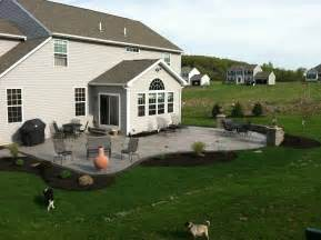 Backyard Grill Gazebo Stamped Concrete Patio With Steps Nucrete