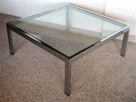 chrome glass coffee table mid century modern chrome glass coffee table