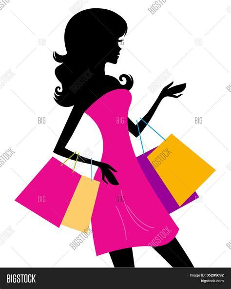 imagenes vectores compras vectores y fotos en stock de mujer compras silueta aislado
